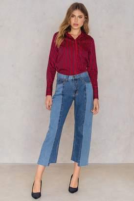 Two Block Straight Denim Pants