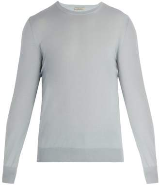 Bottega Veneta Intrecciato Woven Wool Sweater - Mens - Light Blue