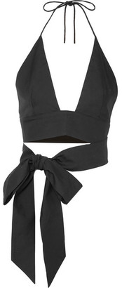 Kalita - Plato Cropped Cotton-poplin Halterneck Top - Black