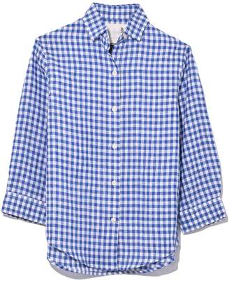 R 13 3/4 Sleeve Summer Oxford in Blue/White Mini Check