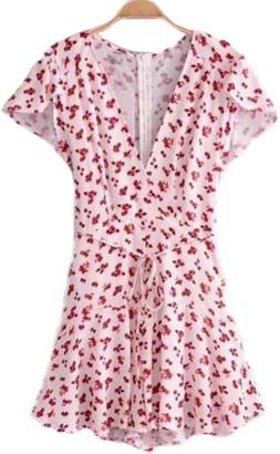 Goodnight Macaroon 'Salley' Floral Tied Flare Romper