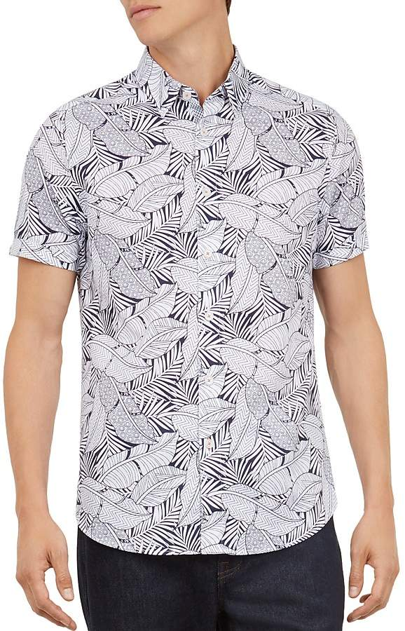 Ted Baker Whittle Foliage Printed Regular Fit Shirt