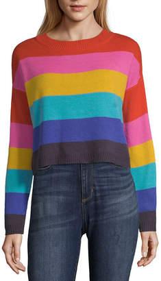 Arizona Womens Round Neck Long Sleeve Stripe Pullover Sweater-Juniors