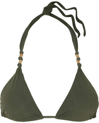 Vix Military Paula Embellished Triangle Bikini Top - Army green