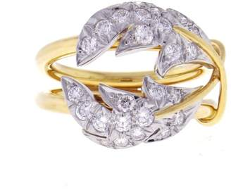 Tiffany & Co. Schlumberger 18k Yellow Gold & Platinum Diamond Two Leaves Ring Size 4