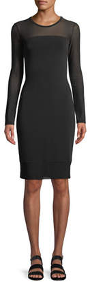 Anatomie Long-Sleeve Mesh Bodycon Dress
