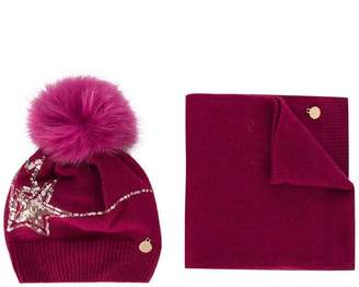Miss Blumarine embellished knitted hat and scarf set