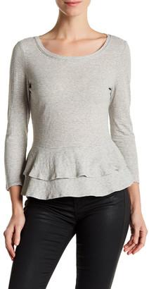 Rebecca Taylor 3/4 Length Sleeve Stripe Ruffle Tee $225 thestylecure.com