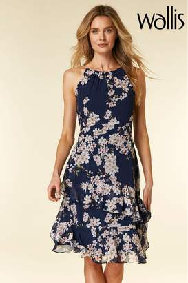 Wallis Womens Blue Magnolia Tiered Dress - Blue