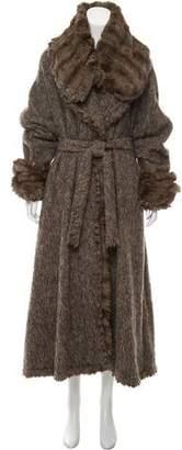 Fendi Fur-Trimmed Mélange Coat