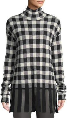 Christian Wijnants Kadiha Check Turtleneck Sweater w/ Fringe