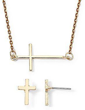 JCPenney Decree® Gold-Tone Cross Pendant & Earrings Set