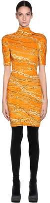 Balenciaga PRINTED STRETCH VELVET MINI DRESS