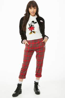 Forever 21 Mickey Mouse Patch Plaid Pants