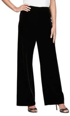 Alex Evenings Flat-Front Wide-Leg Velvet Pants