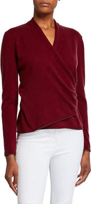 Lafayette 148 New York Cashmere Wrap Front Sweater with Metallic
