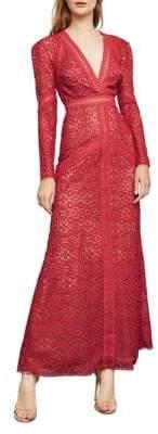 BCBGMAXAZRIA Long-Sleeve Mosaic Lace Gown