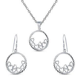 Charmsy Sterling Silver Jewelry Diamond Cut Multi Heart Disc Charm Pendant Earring Set for Teens Women