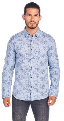 Ladrft Men's Shirt With Floral Print And Roll Up Sleeve