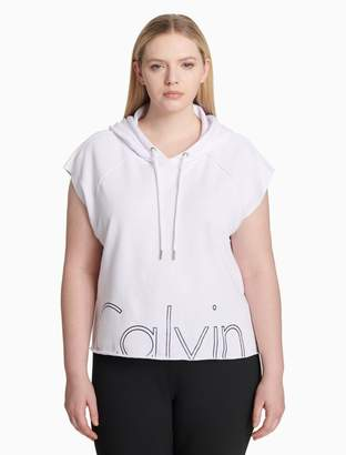 Calvin Klein plus size performance logo cropped hoodie