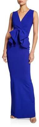 Chiara Boni Oshun Sleeveless Column Dress with Big Bow