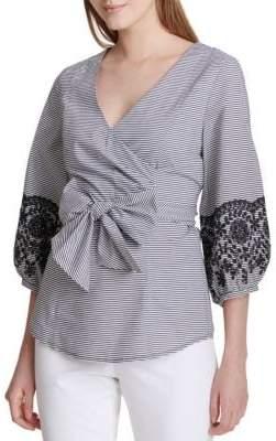 Calvin Klein Poplin Cotton Wrap Top