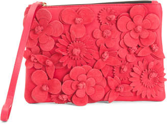 Made In Italy Suede Floral Pouch Wristlet