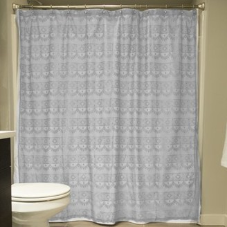 """DII Oceanique Elegant, Modern Diamond Lace Design, Water & Wrinkle Resistant, 100% Polyester, Machine Washable Shower Curtain, 72x72"""", Gray"""