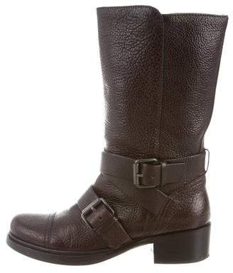 Miu Miu Leather Round-Toe Boots