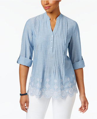 Style & Co Cotton Pleated Eyelet-Hem Top, Only at Macy's $54.50 thestylecure.com