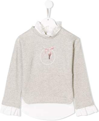 Lapin House bow print layered sweater