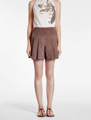 Halston Ultrasuede Pleated Shorts