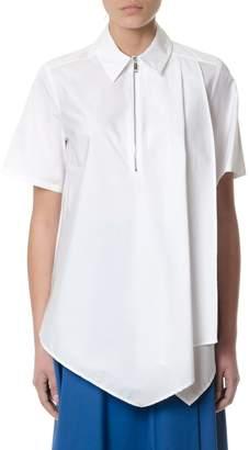 Sportmax White Asymmetric Cotton Shirt Model