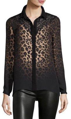 Elie Tahari Mason Long-Sleeve Ombre Leopard-Print Blouse w/ Lace Yoke $368 thestylecure.com