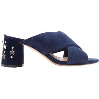 Sandro Navy Suede Mules & Clogs