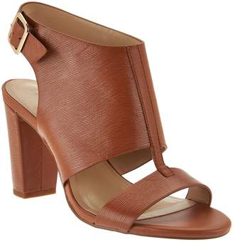 59681b8ea397b8 at QVC · Halston H By H by Leather Block Heel Sandals - Catrina
