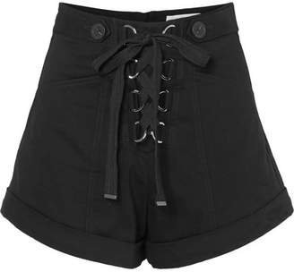 Self-Portrait Lace-up Stretch-cotton Twill Shorts - Black