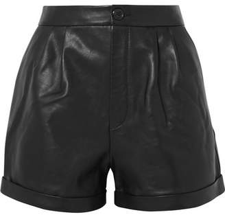 Frame Pleated Leather Shorts - Black