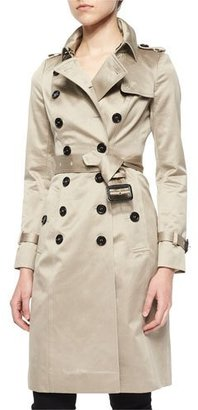 Burberry Sateen Double-Breasted Trenchcoat, Stone $2,295 thestylecure.com