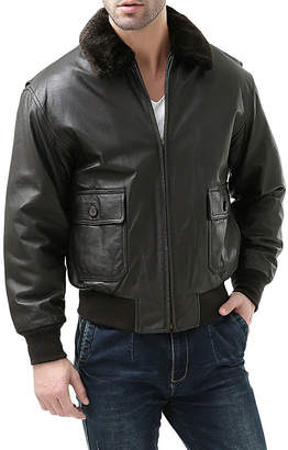 Cricket Landing Men's Navy G-1 Flight Leather Bomber Jacket - Big and Tall