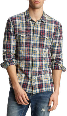 John Varvatos Men's Marshall Plaid Bleach Wash Western Shirt