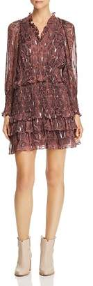 Rebecca Taylor Snake-Print Ruffle-Trim Dress