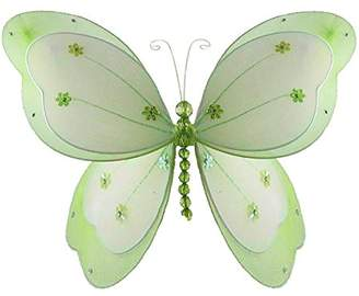 """Chloé The Butterfly Grove Hanging nylon butterfly craft nursery bedroom girls room ceiling wall decor, wedding birthday party baby bridal shower decorations Butterfly Room Decor - 13"""" green"""