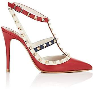 Valentino Women's Rockstud Leather Ankle-Strap Pumps - Red