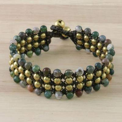 Dreams of Nature in Green Colorful Green Agate and Brass Beaded Bracelet from Thailand