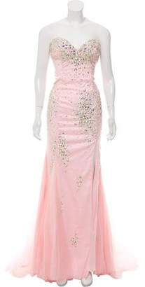Terani Couture Strapless Sequin Gown