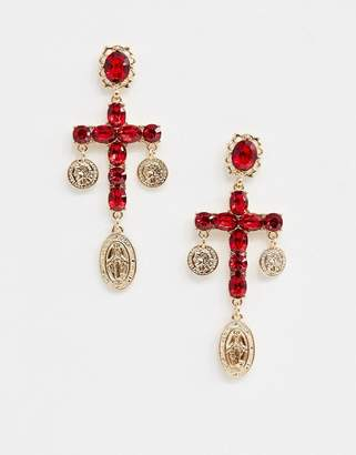 Reclaimed Vintage inspired ruby cross coin earrings