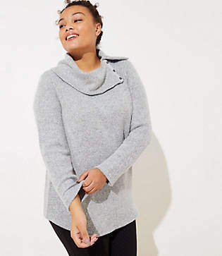 LOFT Plus Button Cowl Neck Tunic