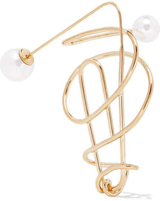 Hillier Bartley - Gold-plated Faux Pearl Earring