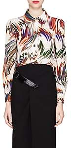 Givenchy Women's Wave-Print Silk Blouse - White